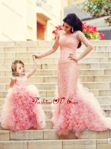 Unique Column Long Sleeves Prom Dress with Brush Train and Affordable Ruffled and Laced Little Girl Dress in Watermelon Red