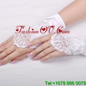 Gorgeous Satin Fingerless Wrist Length Bridal Gloves With Appliques
