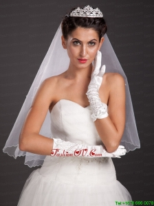 Pretty Beading Satin Fingertips Elbow Length Bridal Gloves
