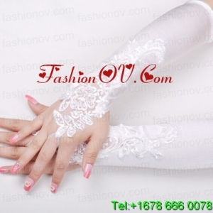 Satin Fingerless Elbow Length Bridal Gloves With Beading And Appliques