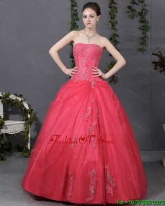 2015 Coral Red Strapless Sweet 16 Dress with Ruching and Appliques