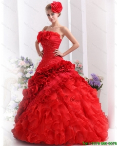 2015 New Style Strapless Dresses for a Quinceanera with Hand Made Flowers