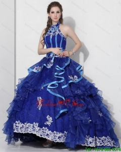 Halter Top Appliques Blue 2015 New Style Quinceanera Dresses with Ruffles and Brush Train