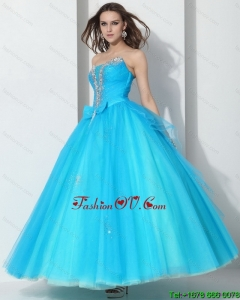 New Style 2015 Beading Baby Blue Quinceanera Dresses with Bownot