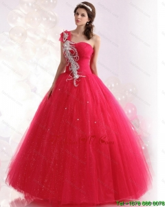 New Style One Shoulder Dresses for a Quinceanera with Beading for 2015
