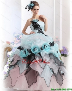 New Style Ruffles Multi Color 2015 Quinceanera Dresses with Hand Made Flowers