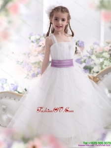 2015 New Style White Little Girl Pageant Dresses with Lilac Sash