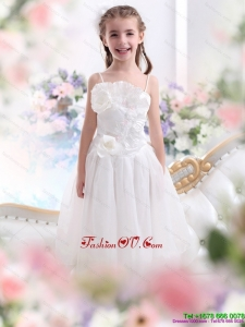 2015 New Style White Spaghetti Straps Little Girl Pageant Dresses with Flowers and Ruffles