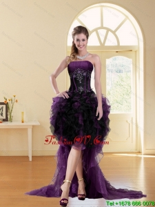 Modest Multi Color High Low Strapless Beading Ruffled Short Prom Dresses for 2015