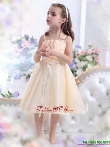 New Style Champagne Spaghetti Straps Little Girl Pageant Dresses with Waistband and Hand Made Flower