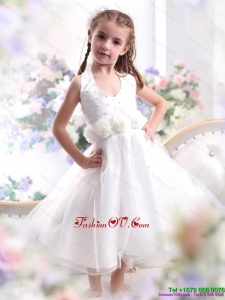 New Style Halter Top White Mini Length Little Girl Pageant Dress with Hand Made Flower