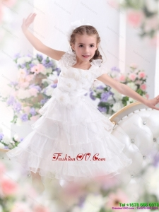 New Style Ruffled Layers White 2015 Little Girl Pageant Dress with Hand Made Flower