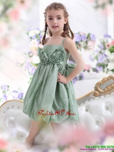 New Style Spaghetti Straps Little Girl Pageant Dress with Waistband and Hand Made Flower