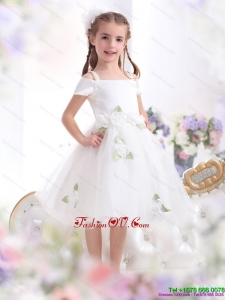 New Style Spaghetti Straps White 2015 Little Girl Pageant Dress with Hand Made Flowers