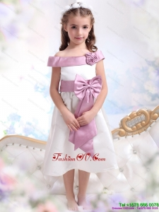 Off The Shoulder New Style White Little Girl Pageant Dresses with Flower and Bowknot