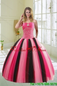 Pretty Multi Color Sweetheart Beading Quince Dress for 2015
