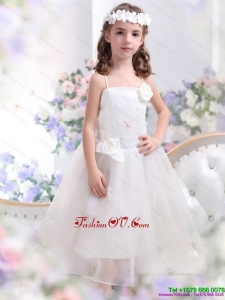 White Spaghetti Straps New Style Little Girl Pageant Dresses with Hand Made Flower and Appliques