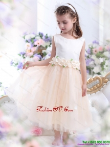 2015 New Style White Little Girl Pageant Dress with Waistband and Hand Made Flowers