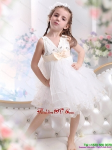 Beading Ruffled 2015 New Style White Little Girl Pageant Dress with Bowknot