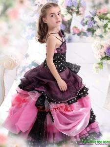 Multi Color Ruffled 2015 New Style Little Girl Pageant Dress with Bowknot and Hand Made Flower