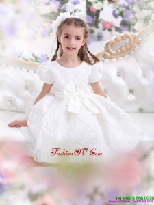 New Style Lace 2015 White Little Girl Pageant Dress with Short Sleeves and Bowknot