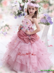 New Style Rose Pink Little Girl Pageant Dress with Hand Made Flowers and Ruffled Layers