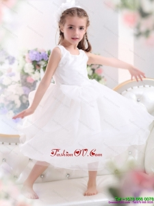 New Style Scoop White Bowknot A Line Little Girl Pageant Dresses for 2015