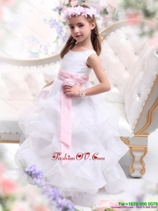 New Style Scoop White Little Girl Pageant Dress with Sash and Ruffles