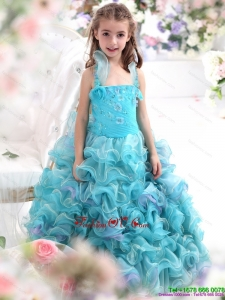 New Style Straps Appliques and Ruffled Layers Pageant Dresses for Kids in Aque Blue