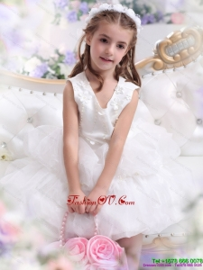 New Style White Appliques Scoop Little Girl Pageant Dress for 2015