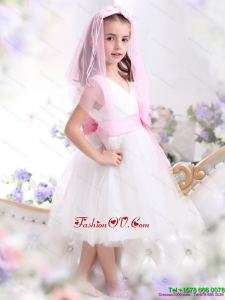 New Style White Little Girl Pageant Dress with Baby Pink Waistband and Hand Made Flower