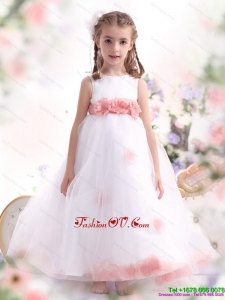New Style White Little Girl Pageant Dresses with Pink Waistband and Hand Made Flower