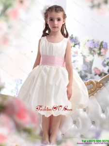 New Style White Scoop 2015 Little Girl Pageant Dress with Light Pink Sash