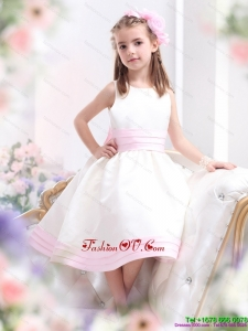 New Style White Scoop Little Girl Pageant Dress with Light Pink Bowknot
