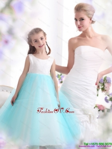 New Style White and Baby Blue Scoop Little Girl Pageant Dress for 2015