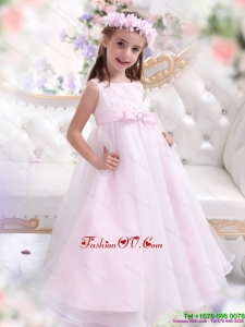 Scoop Appliques and Bowknot New Style Pageant Dresses for Girl in Baby Pink
