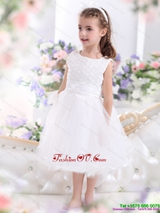 Scoop Tea Length White 2015 New Style Little Girl Pageant Dress with Sash