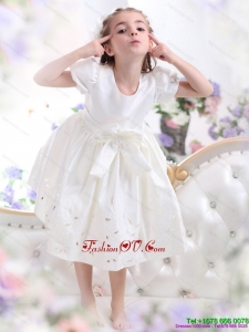 White Scoop 2015 New Style Little Girl Pageant Dress with Bowknot and Cap Sleeves