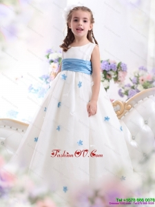 White Scoop New Style Little Girl Pageant Dress with Baby Blue Waistband and Appliques