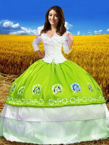 Taffeta Off The Shoulder 3 4 Length Sleeve Lace Up Embroidery Quinceanera Gowns in Yellow Green