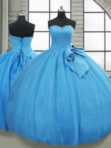 Sweetheart Sleeveless Quince Ball Gowns Floor Length Bowknot Baby Blue Tulle
