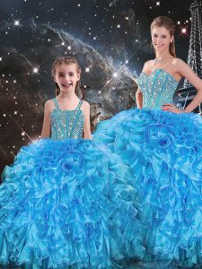 Discount Sweetheart Sleeveless Quinceanera Gowns Floor Length Beading and Ruffles Baby Blue Organza