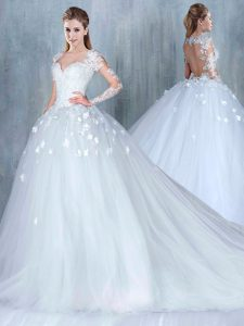 Elegant Sweetheart Long Sleeves Court Train Backless Wedding Dress White Tulle
