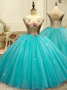 Sumptuous Floor Length Ball Gowns Sleeveless Aqua Blue 15th Birthday Dress Lace Up