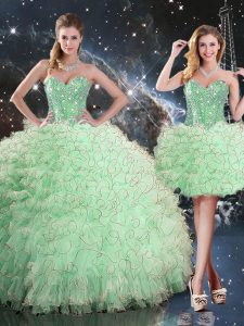 Latest Floor Length Lace Up 15 Quinceanera Dress Apple Green for Military Ball and Sweet 16 and Quinceanera with Beading and Ruffles