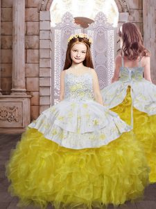 Gold Sleeveless Brush Train Embroidery and Ruffles Little Girls Pageant Gowns