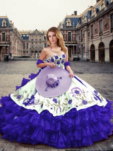 Customized Floor Length Purple Sweet 16 Dress Sweetheart Sleeveless Lace Up