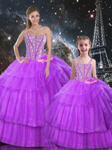 Purple Organza and Tulle Lace Up Sweetheart Sleeveless Floor Length 15 Quinceanera Dress Beading and Ruffled Layers