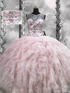 Fancy Sleeveless Tulle Floor Length Zipper 15 Quinceanera Dress in Pink with Beading and Ruffles