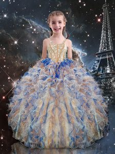 Discount Multi-color Organza Lace Up Kids Formal Wear Sleeveless Floor Length Beading and Ruffles